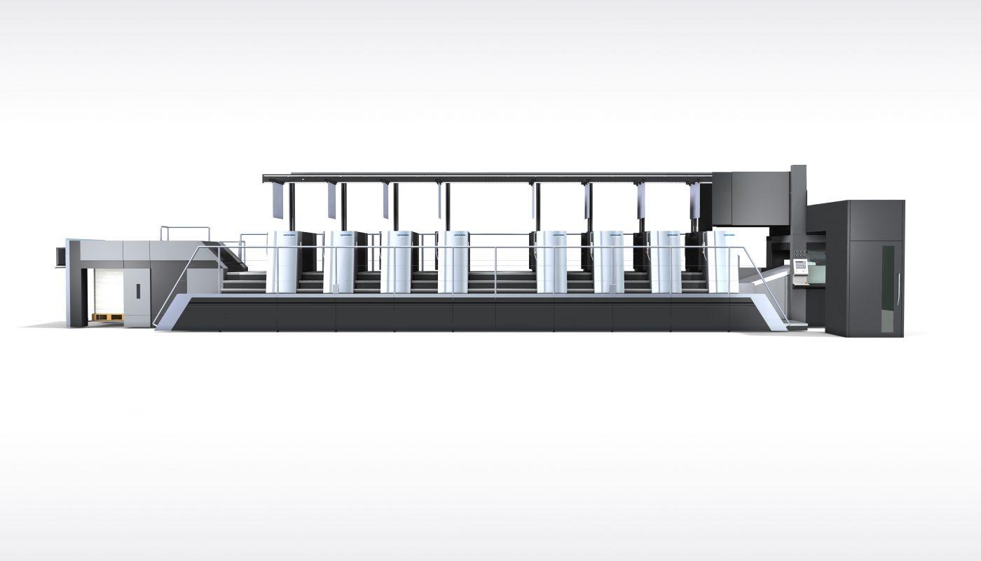 Die neue Speedmaster drupa 2020 Generation – hier die Speedmaster XL 106-Achtfarben mit vollautomatischer Druckplattenlogistik.